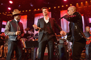 Robin Thicke Pharrell Williams The 56th Annual GRAMMY Awards - Pre-GRAMMY Gala And Salute To Industry Icons Honoring  Lucian Grainge - Show