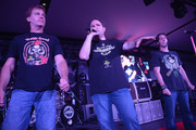Jim Florentine, Eddie Trunk  and Don Jamieson attend the Rock N' Roll Heaven And Old Bridge Metal Militia Reunion & Superstorm Sandy Benefit Concert at the Encore Event Center on May 11, 2013 in Freehold, New Jersey.