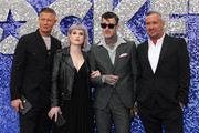 "(L-R) Fat Tony, Kelly Osbourne, Jimmy Q and guest attend the ""Rocketman"" UK premiere at Odeon Luxe Leicester Square on May 20, 2019 in London, England."