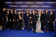 "(L-R) Giles Martin, Bryce Dallas Howard, Richard Madden, Taron Egerton, Dexter Fletcher, Kit Connor, Stephen Graham, Elton John, Bernie Taupin, David Furnish Matthew Vaughn, Claudia Shiffer, Jim Gianopulos, Adam Bohling and Wyck Godfrey  attend the ""Rocketman"" UK Premiere at Odeon Leicester Square on May 20, 2019 in London, United Kingdom."