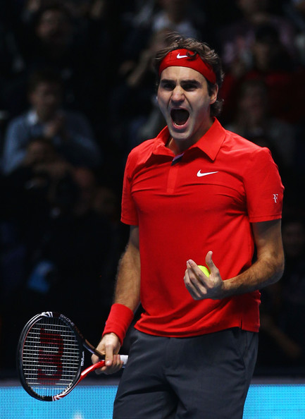 Roger Federer Roger Federer of Switzerland celebrates victory during his men's final match against Rafael Nadal of Spain during the ATP World Tour Finals at O2 Arena on November 28, 2010 in London, England.