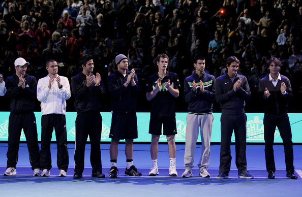 ATP World Tour Finals - Day One [day one,event,sport venue,championship,team,sports,competition event,performance,player,tournament,team sport,mikhail youzhny,jurgen melzer,andy murray,l-r,russia,austria,great britain,atp world tour finals,ceremony]
