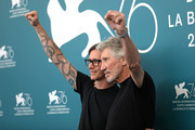 "Director Sean Evans and Roger Waters attend the ""Roger Waters Us + Them"" Photocall during the 76th Venice Film Festival at  on September 06, 2019 in Venice, Italy."