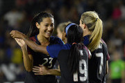 Crystal Dunn #19 of United States celebrates her goal with Christen Press #23 against Romania during the first half of their international friendly soccer match at StubHub Center on November 13, 2016 in Carson, California.