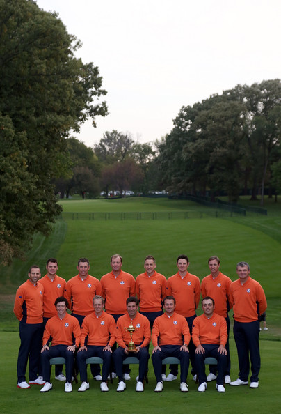 Ryder Cup - Preview Day 2 [team,red,player,team sport,sports,grass,sport venue,championship,recreation,competition event,jose maria olazabal,martin kaymer,lee westwood,sergio garcia,paul lawrie,rory mcilroy,back row,l-r,european team,ryder cup]