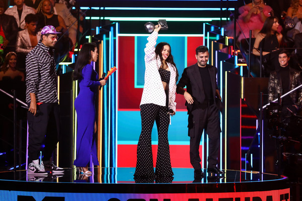 MTV EMAs 2019 - Show [entertainment,stage,performance,heater,performing arts,event,musical theatre,theatrical scenery,music artist,talent show,rosalia,el guincho,stage,best collaboration award,seville,spain,exhibition centre,mtv,emas 2019 - show,fibes conference]