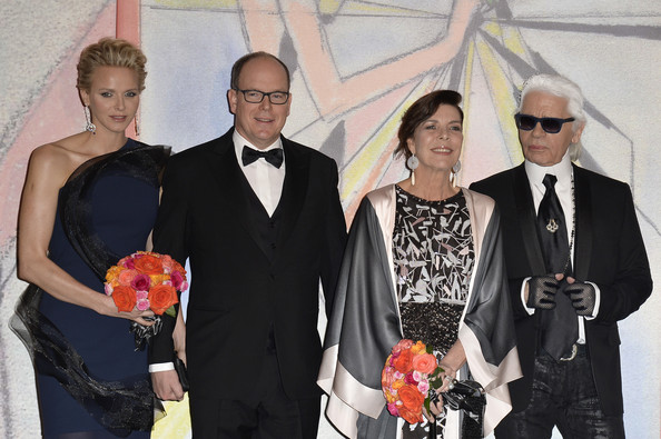 Princess Charlene of Monaco, Prince Albert II of Monaco, Princess Caroline of Hanover and Karl Lagerfeld attend the Rose Ball 2014 in aid of the Princess Grace Foundation at Sporting Monte-Carlo on March 29, 2014 in Monte-Carlo, Monaco.