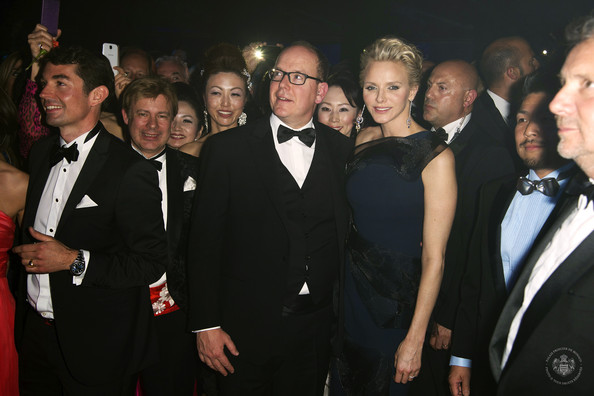 (VOICI, CLOSER, FRANCE DIMANCHE, ICI PARIS, ENTREVUE & PUBLIC OUT FOR FRANCE) (TABLOID OUT) Prince Albert II of Monaco and Princess Charlene of Monaco attend the Rose Ball 2014 in aid of the Princess Grace Foundation at Sporting Monte-Carlo on March 29, 2014 in Monte-Carlo, Monaco.