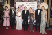 (TABLOIDS OUT)  (L-R) Charlotte Casiraghi, Karl Lagerfeld, Princess Caroline of Hanover, Prince Albert II of Monaco, Paola Marzotto, Pierre Casiraghi and Beatrice Borromeo attend the Rose Ball 2015 in aid of the Princess Grace Foundation at Sporting Monte-Carlo on March 28, 2015 in Monte-Carlo, Monaco.