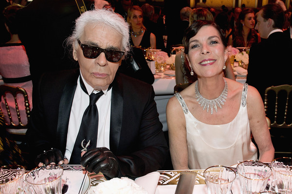 Princess Caroline of Hanover and Karl Lagerfeld (L) attend the Rose Ball 2015 in aid of the Princess Grace Foundation at Sporting Monte-Carlo on March 28, 2015 in Monte-Carlo, Monaco.