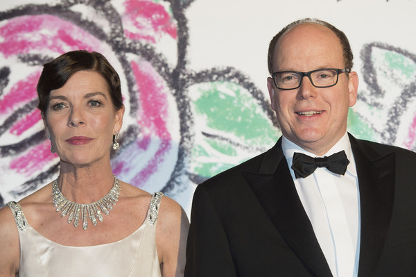 Prince Albert II of Monaco and Princess Caroline of Hanover attend the Rose Ball 2015 in aid of the Princess Grace Foundation at Sporting Monte-Carlo on March 28, 2015 in Monte-Carlo, Monaco.