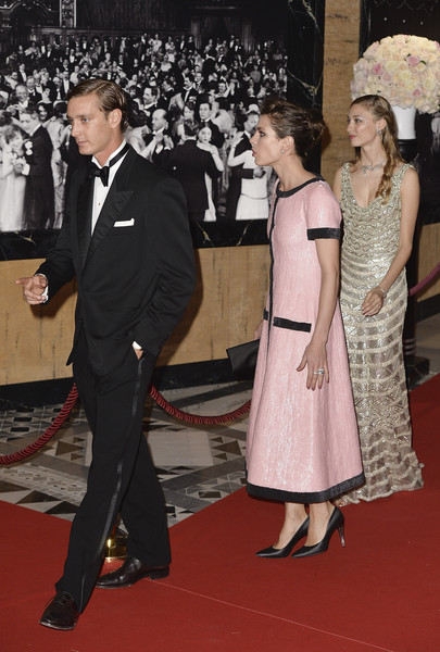 (L-R) Pierre Casiraghi, Charlotte Casiraghi and Beatrice Borromeo attend the Rose Ball 2015 in aid of the Princess Grace Foundation at Sporting Monte-Carlo on March 28, 2015 in Monte-Carlo, Monaco.