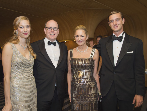 (TABLOIDS OUT)  (L-R) Beatrice Borromeo, Prince Albert II of Monaco, Paola Marzotto and Pierre Casiraghi attend the Rose Ball 2015 in aid of the Princess Grace Foundation at Sporting Monte-Carlo on March 28, 2015 in Monte-Carlo, Monaco.
