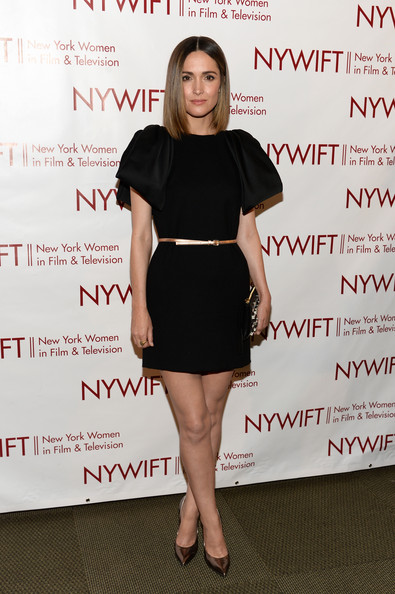 Arrivals at the 'Designing Women' Awards Gala [clothing,dress,shoulder,fashion,little black dress,cocktail dress,footwear,joint,leg,long hair,arrivals,rose byrne,mcgraw hill building,new york city,new york women in film and television ``designing women awards gala]