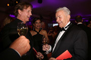 (L to R) Thomas Heinze, Jackie Brown and Klaus Wowereit attend the Rosenball charity event at the Hotel Intercontinental on May 5, 2018 in Berlin, Germany.