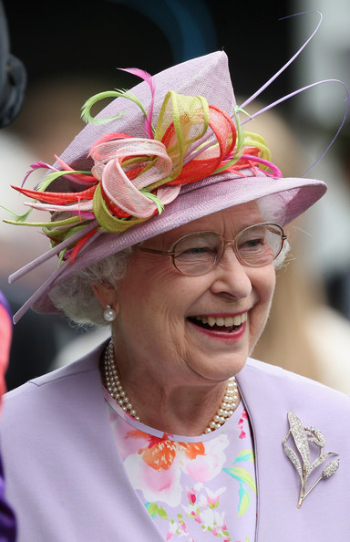 Queen Elizabeth II HM Queen Elizabeth II laughs in the parade ring on day four of Royal Ascot 2009 at Ascot Racecourse on June 19, 2009 in Ascot, England.