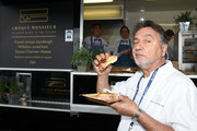 Raymond Blanc with a croque monsieur he prepared in the Village Enclosure on day 3 of Royal Ascot at Ascot Racecourse on June 20, 2019 in Ascot, England.