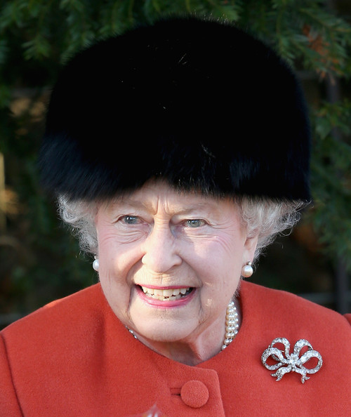 Queen Elizabeth II leaves the Christmas Day service at Sandringham on December 25, 2013 in King's Lynn, England.
