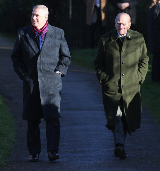 Prince Phillip, Duke of Edinburgh and Prince Andrew, Duke of York arrive for the Christmas Day service at Sandringham on December 25, 2013 in King's Lynn, England.