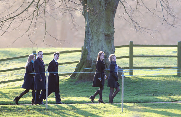 Princess Beatrice arrives at the Christmas Day service at Sandringham on December 25, 2013 in King's Lynn, England.