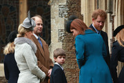 Sophie, Countess of Wessex, Prince Edward, Earl of Wessex and James, Viscount Severn attend a Christmas Day church service at Sandringham on December 25, 2015 in King's Lynn, England.