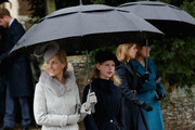 Sophie, Countess of Wessex and Lady Louise Windsor attend a Christmas Day church service at Sandringham on December 25, 2015 in King's Lynn, England.