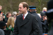 Prince William, Duke of Cambridge, Duke of Cambridge attends a Christmas Day church service at Sandringham on December 25, 2015 in King's Lynn, England.