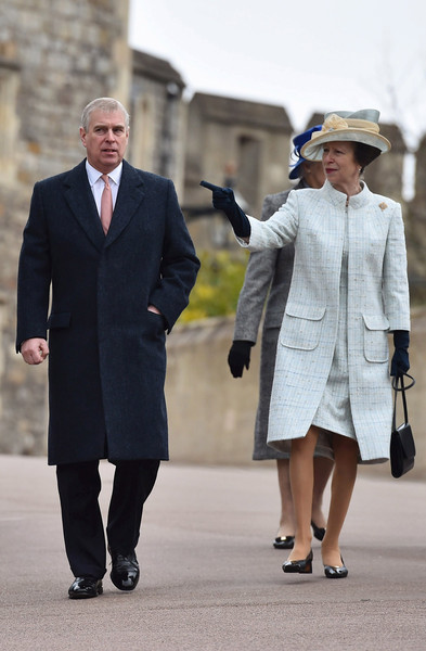 Prince Andrew, Duke of York and Princess Anne, Princess Royal arrive to attend the Easter Sunday service at St George's Chapel at Windsor Castle on April 5, 2015 in Windsor, England.