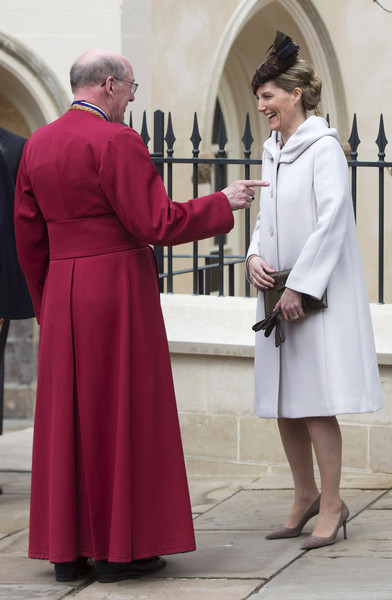 Sophie, Countess of Wessex leaves the Easter Sunday service at St George's Chapel at Windsor Castle on April 5, 2015 in Windsor, England.