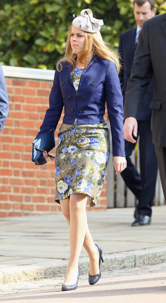 Princess Beatrice arrives for a thanksgiving service for the Queen Mother and Princess Margaret at St George's Chapel on March 30, 2012 in Windsor, England.