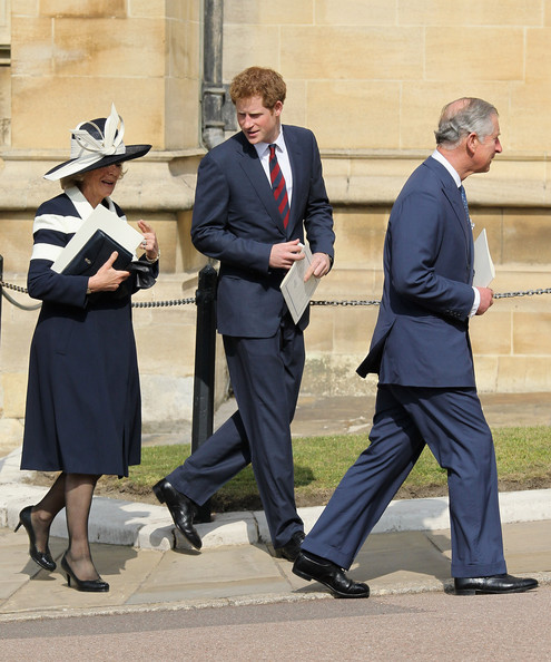 Camilla, Duchess of Cornwall, Prince Harry and Prince Charles, Prince of Wales leave a thanksgiving service for the Queen Mother and Princess Margaret at St George's Chapel on March 30, 2012 in Windsor, England.
