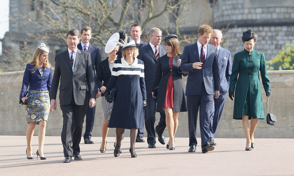 (L-R) Princess Beatrice, Timothy Laurence, Sophie, Countess of Wessex, Camilla, Duchess of Cornwall, Prince Andrew, Duke of York, Princess Eugenie, Prince Harry, Prince Charles, Prince of Wales and Princess Anne arrive for a thanksgiving service for the Queen Mother at St George's Chapel on March 30, 2012 in Windsor, England.