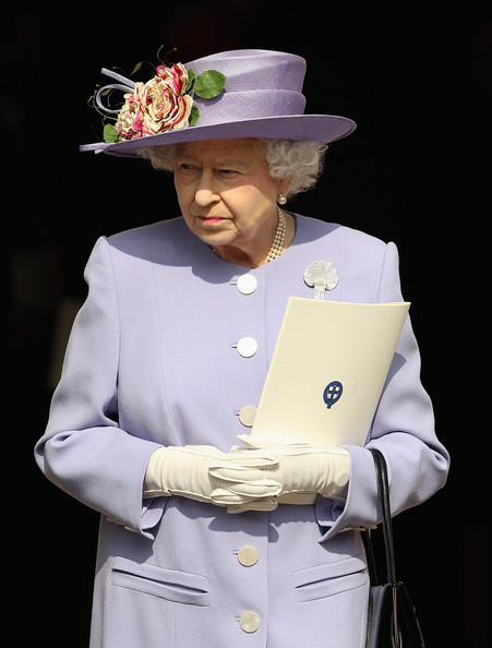 Queen Elizabeth II  leaves a thanksgiving service for the Queen Mother and Princess Margaret at St George's Chapel on March 30, 2012 in Windsor, England.