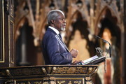Kofi Annan speaks during the annual Commonwealth Day service on Commonwealth Day on March 14, 2016 in Westminster Abbey, London. The service is the largest annual inter-faith gathering in the UK.