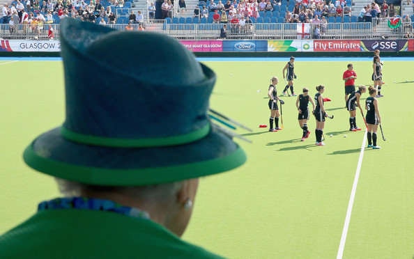 Queen Elizabeth II watches the hockey at the Glasgow National Hockey Centre during day one of 20th Commonwealth Games on July 24, 2014 in Glasgow, Scotland.