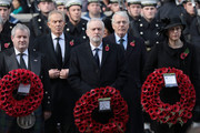 (R-L) Prime Minister Theresa May, John Major, Labour leader Jeremy Corbyn, Tony Blair and Ian Blackford attend the annual Remembrance Sunday memorial at the Cenotaph on Whitehall on November 12, 2017 in London, England.  The Royal Family, senior politicians, including the British Prime Minister and representatives from the armed forces pay tribute to those who have suffered or died at war.