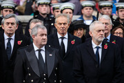 (L-R) Gordon Brown, Ian Blackford, Tony Blair and Jeremy Corbyn attend the annual Remembrance Sunday memorial on November 12, 2017 in London, England.  The Prince of Wales, senior politicians, including the British Prime Minister and representatives from the armed forces pay tribute to those who have suffered or died at war.