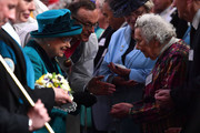 Queen Elizabeth II hands out Maundy money during the Royal Maundy service at Leicester Cathedral on April 13, 2017 in Leicester, England. The Queen & Duke of Edinburgh travelled by car from Leicester station along Humberstone Gate, High Street and Jubilee Square.
