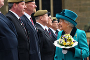 Queen Elizabeth II meets former servicemen following the Royal Maundy service at Leicester Cathedral on April 13, 2017 in Leicester, England. The Queen & Duke of Edinburgh travelled by car from Leicester station along Humberstone Gate, High Street and Jubilee Square.
