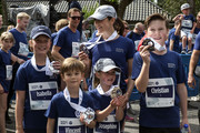 Crown Princess Mary of Denmark and her children (L-R) Princess Isabella, Prince Vincent, Prince Christian and Princess Josephine  -  proudly shows their medals after finishing the 1.6 KM (1 mile) long tour, Royal Run, on the occasion of the 50th birthday of Crown Prince Frederik on May 21, 2018 in Copenhagen, Denmark. The Royal Run takes place in the cities Aalborg, Aarhus, Esbjerg, Odense and Copenhagen and more than 70.000 people are expected to participate during the day long sports event. The Crown Prince himself will run in all five cities.The last city of the day is Copenhagen, where he will run together with some 40.000 people.