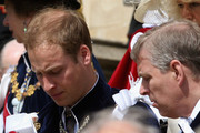 Prince William and Prince Andrew, Duke of York leave St Georges's Chapel after attending the Garter Ceremony on June 15, 2009 in Windsor, England. The Order of the Garter is the senior and oldest British Order of Chivalry, founded by Edward III in 1348. Membership in the order is limited to the sovereign, the Prince of Wales, and no more than twenty-four members.