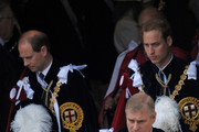 Prince Edward, Earl of Wessex (L), Prince Andrew, Duke of York (C) and Prince William leave after attending The Order of the Garter Service on June 14, 2010 at St. George's Chapel, Windsor Castle in Windsor, England. The Order of the Garter is the most senior and the oldest British Order of Chivalry and was founded by Edward III in 1348. The patron saint of the Order is St George (patron saint of soldiers and also of England) and the spiritual home of the Order is St George's Chapel, Windsor. Every knight is required to display a banner of his arms in the Chapel, together with a helmet, crest and sword and an enamelled stallplate. These 'achievements' are taken down on the knight's death and the insignia are returned to the Sovereign. The stallplates remain as a memorial and these now form one of the finest collections of heraldry in the world.