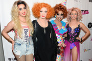 Season five winner of 'RuPaul's Drag Race' Jinkx Monsoon (2nd L) poses with the top three finalists of season six (L-R) Adore Delano, Bianca Del Rio and Courtney Act as they arrive at a viewing party for the show's finale at the New Tropicana Las Vegas on May 19, 2014 in Las Vegas, Nevada. Del Rio was declared the season six winner.