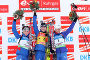(FRANCE OUT) Helena Jonsson of Sweden takes 1st place, Svetiana Sleptsova of Russia takes 2nd place, Olga Zaitseva of Russia takes 3rd place during the e.on Ruhrgas IBU Biathlon World Cup WomenÕs 10 km Pursuit on December 12, 2009 in Hochfilzen, Austria.