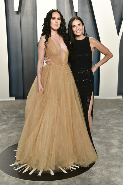 2020 Vanity Fair Oscar Party Hosted By Radhika Jones - Arrivals [fashion model,gown,dress,clothing,formal wear,shoulder,fashion,lady,haute couture,a-line,radhika jones - arrivals,radhika jones,rumer willis,demi moore,l-r,california,beverly hills,wallis annenberg center for the performing arts,oscar party,vanity fair,rumer willis,demi moore,vanity fair,oscar party,academy awards,photograph,actor]