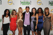 "Aly Kinloch, Sagen Albert,  Simone Reyes, Russell Simmons, Christina Paljusaj, Piper McCoy and Tricia Clarke Stone attend the series premiere party for ""Running Russell Simmons"" at Lavo on October 19, 2010 in New York City."