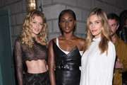 "Maggie Laine, Zuri Tibby, and Noel Berry attend the U.S. book launch of ""Backstage Secrets By Russell James"" hosted by Russell James and Ed Razek on May 31, 2018 in New York City."