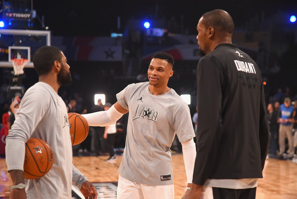 best authentic b6ee3 3e27a Russell Westbrook and Kyrie Irving Photos Photos - NBA All ...