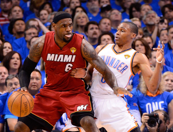 2012 NBA Finals - Game One Russell Westbrook And Lebron James