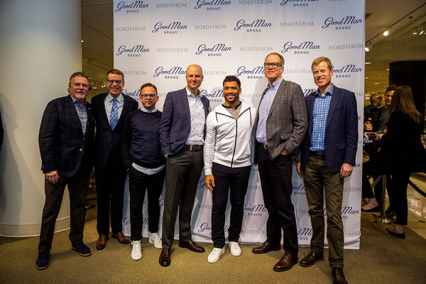Russell Wilson Launches Good Man Brand at Nordstrom [photo,event,design,team,white-collar worker,businessperson,tourism,blake nordstrom,russell wilson,pete nordstrom,seattle,washington,nordstrom,russell wilson launches good man brand,seattle seahawks]